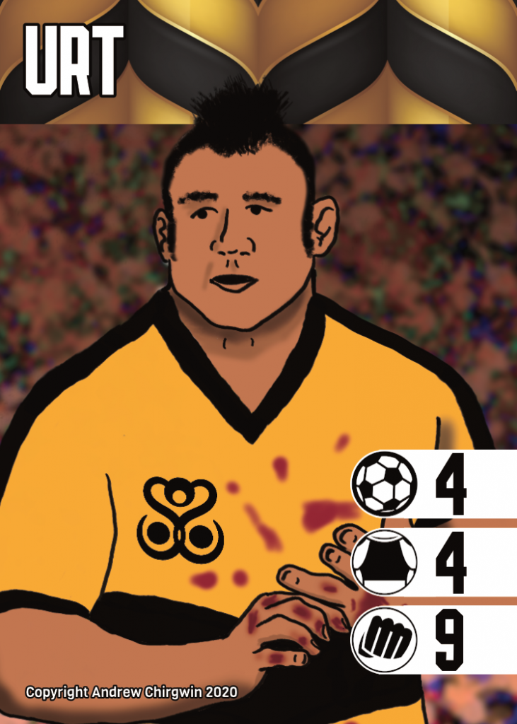 A game card depicting an ogre team player with a blood spattered shirt